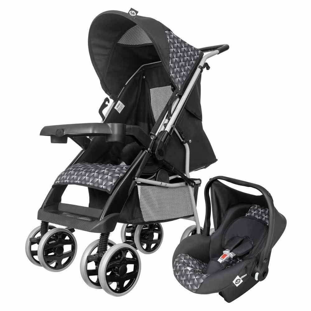 Combo Carrinho E Bebê Conforto Thor Plus Tutti Baby - Preto New