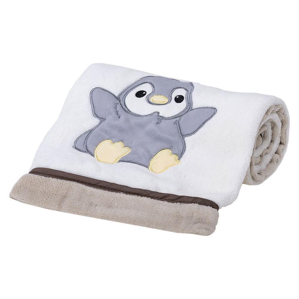 Cobertor Bebê Bordado 75X100m Microfibra - Pinguim Bege