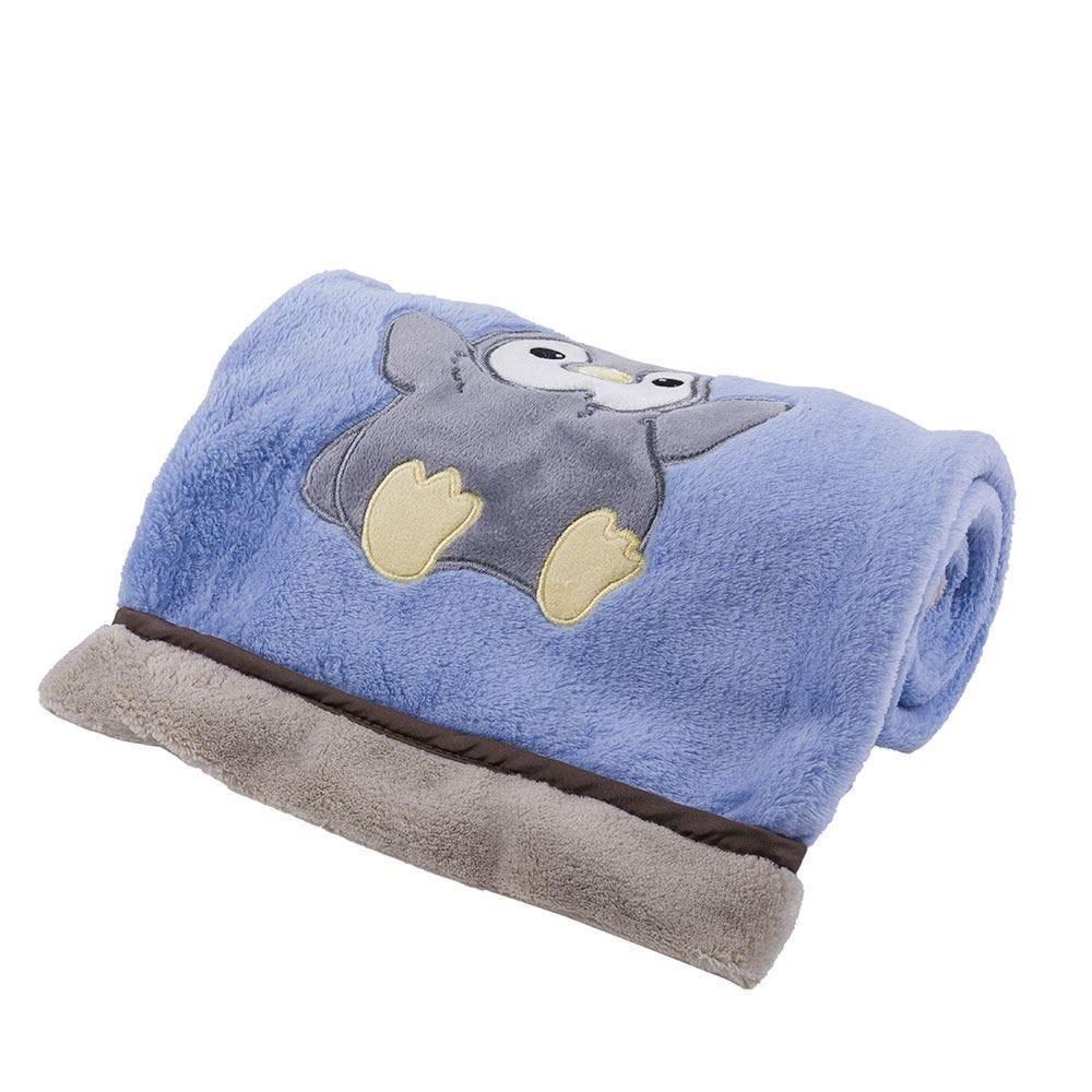 Cobertor Bebê Bordado 75X100m Microfibra - Pinguim Azul