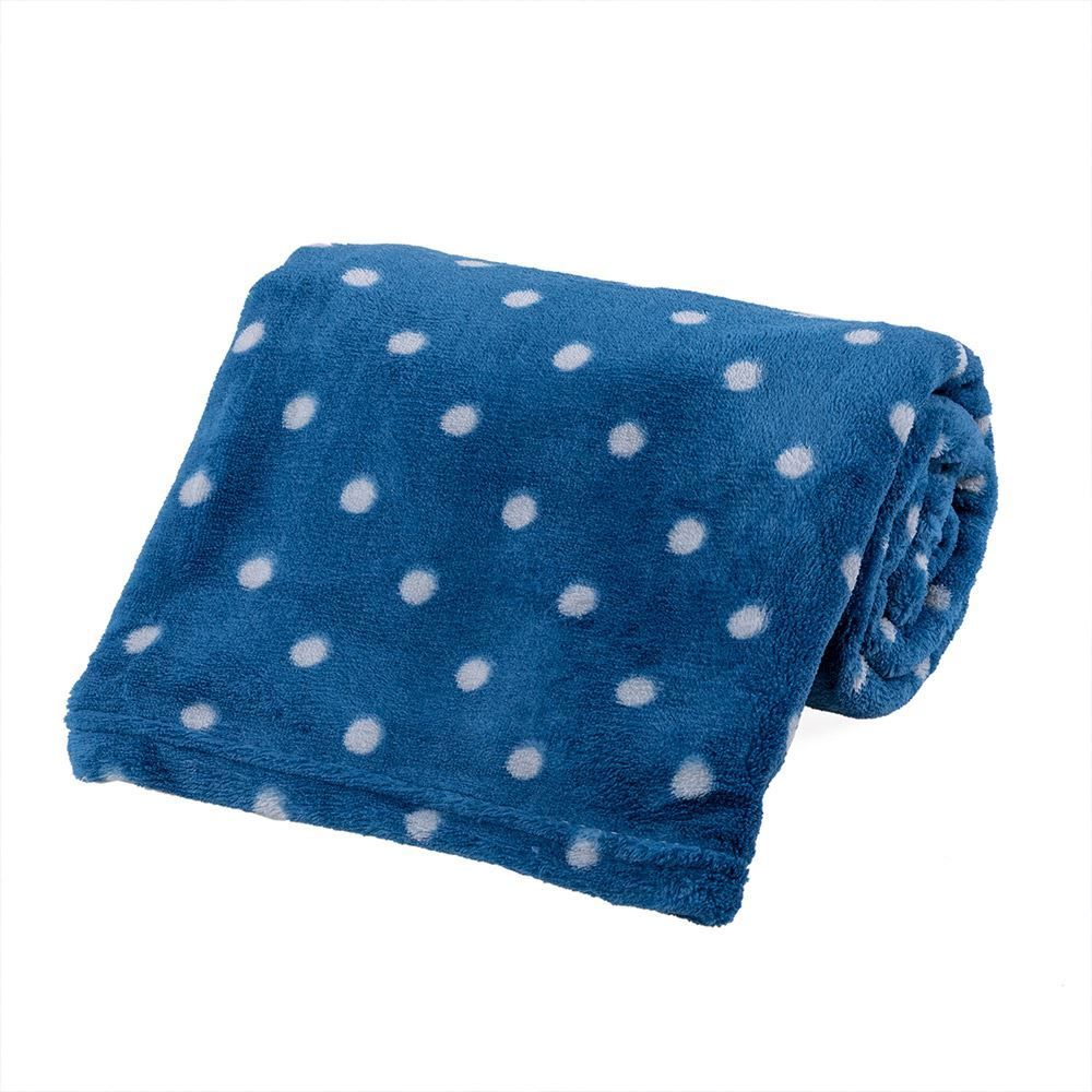 Cobertor Bebê Microfibra 90X100cm Yoyo Baby - Poa Azul