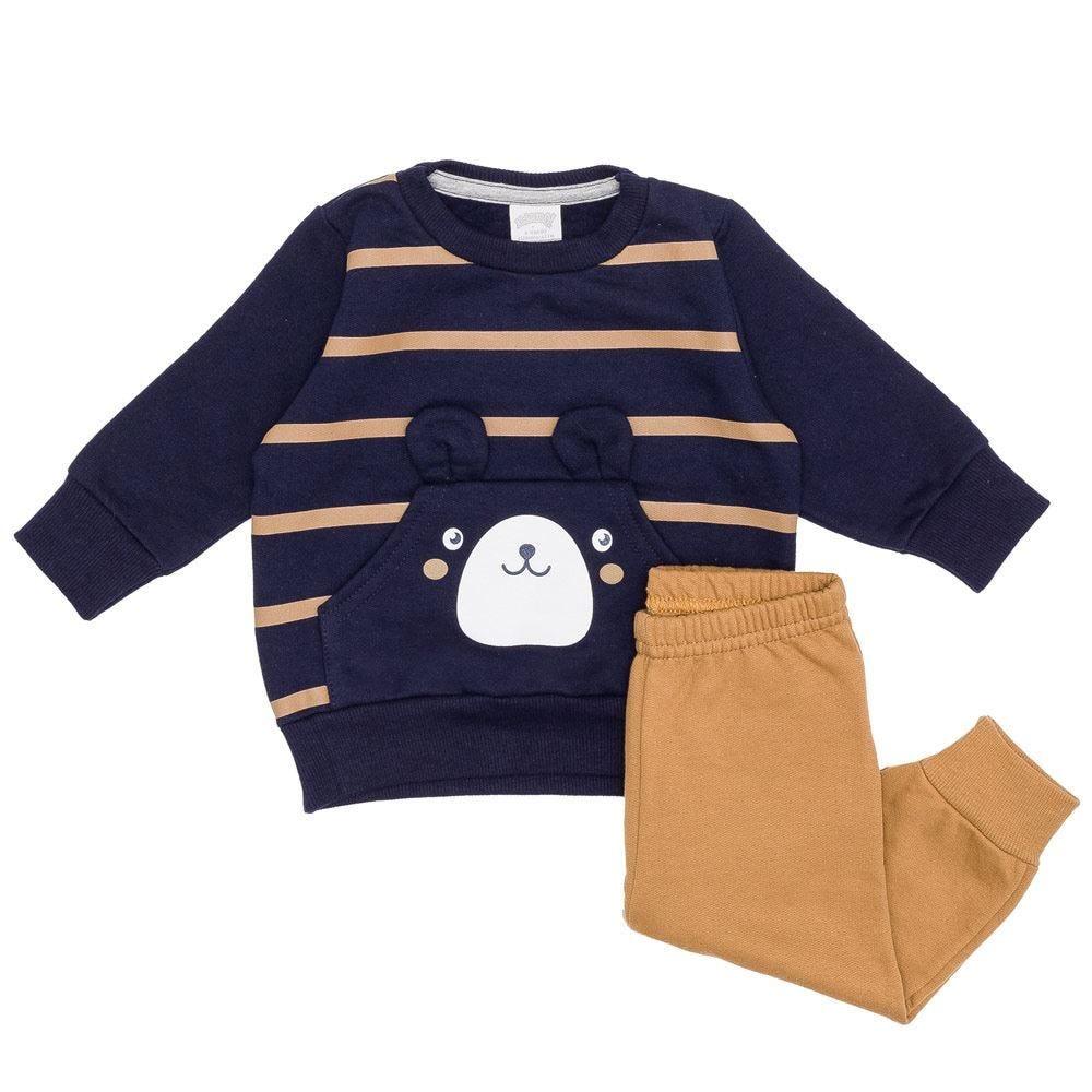 Conjunto Moletom de Bebê Blusão + Calça Urso Alakazoo