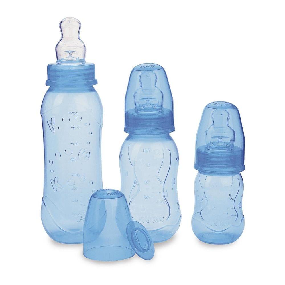 Estojo Mamadeira Aquarela Bico Ortodôntico 3 peças - Kuka - Azul