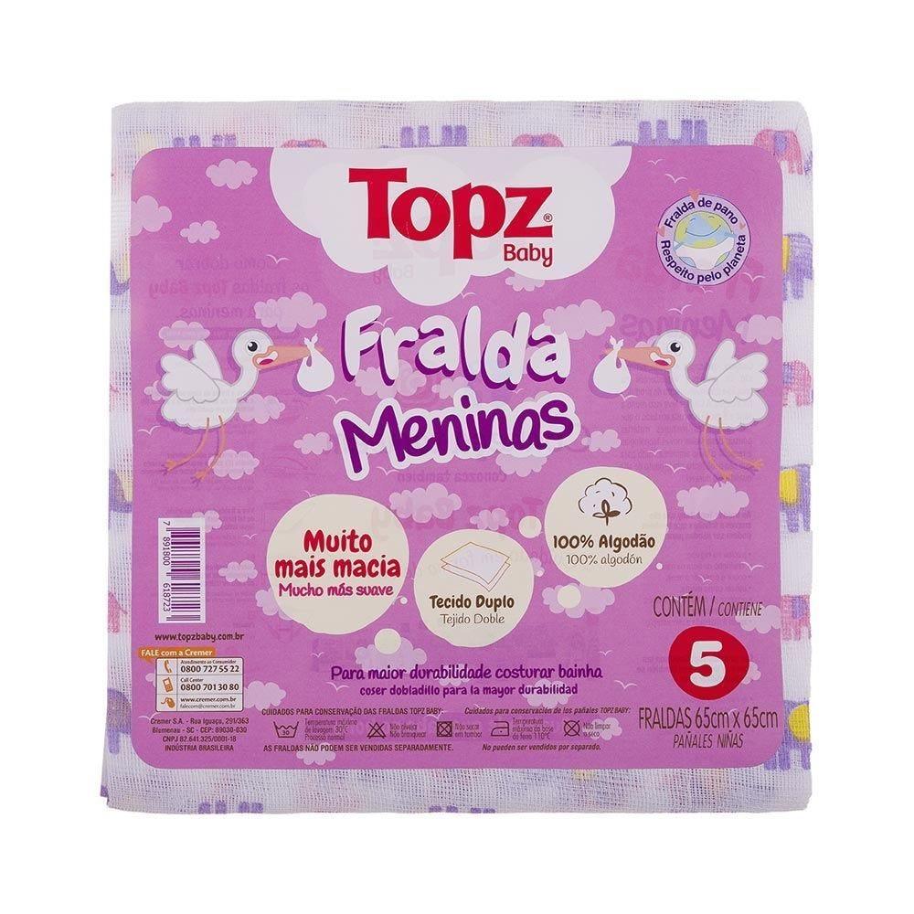 Fralda De Pano Topz Baby Estampada Com 5 Unidades - Menina