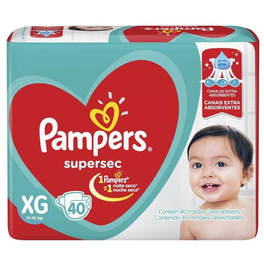 Fralda Pampers Super Sec Hiper Tam. Xg - 40 Unidades