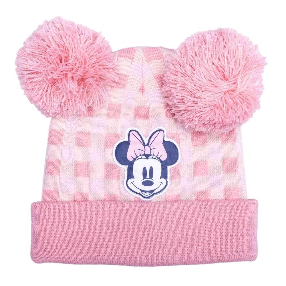 Gorro 4 A 10 Anos Minnie Com Pompons Disney - ROSA/BRANCO 4-10