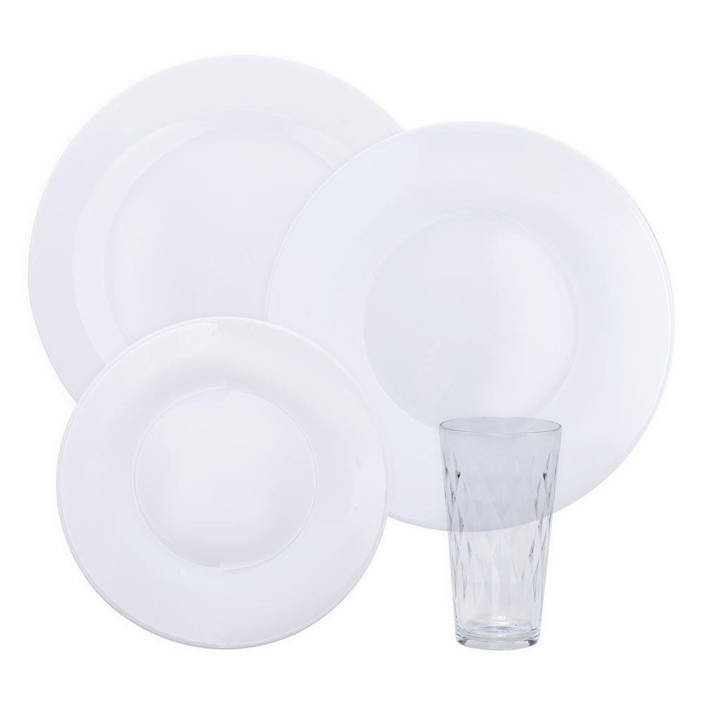 Jogo De Jantar Menu Opaline Vitrage 16 Peças Duralex - Branco