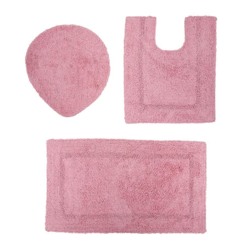 Jogo De Tapetes De Banheiro Arezo 3 Peças Havan - Rose 1611