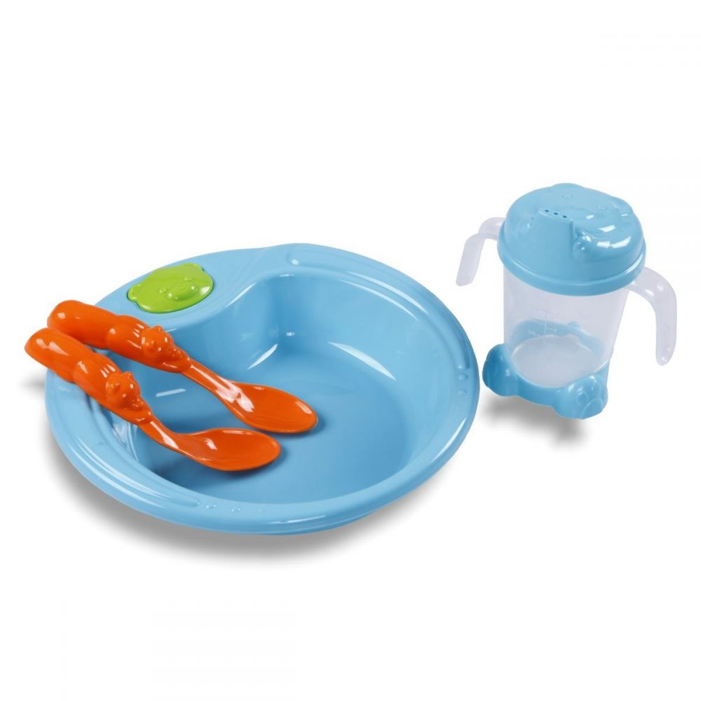 Kit Alimentação Prato Urso,2 Colheres e Porta-Suco Yoyo Baby - Azul turquesa