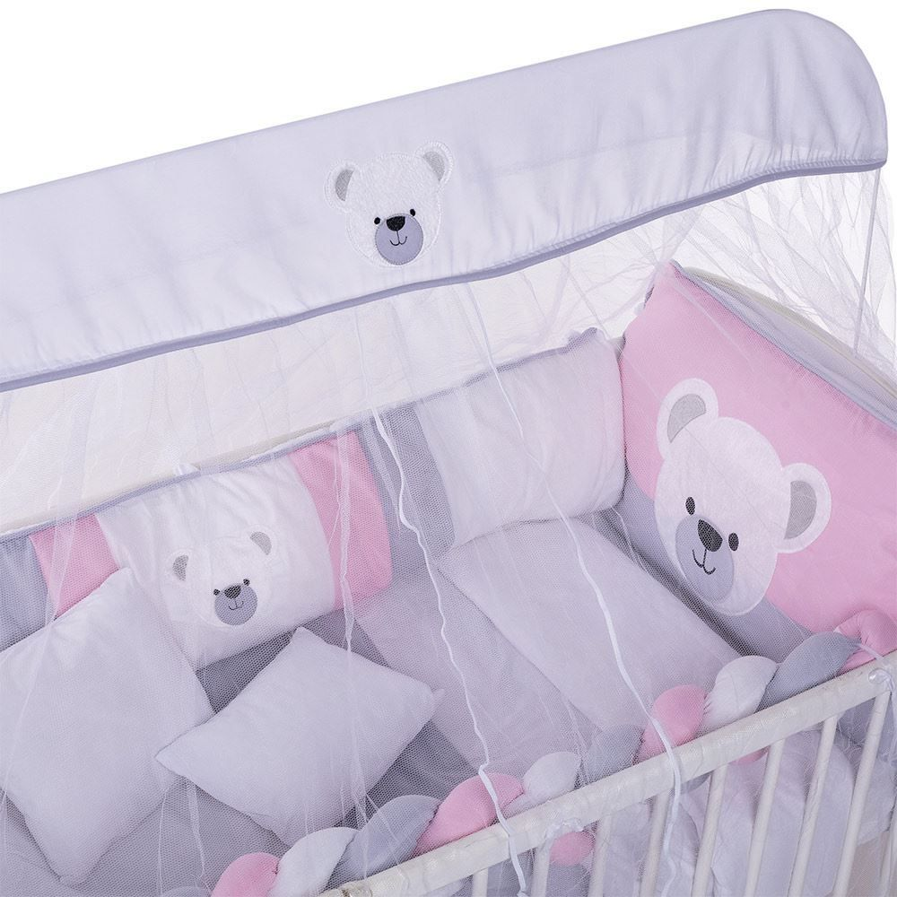 Kit Berço 9 Peças New Americano Yoyo Baby - Urso Mel G Rosa