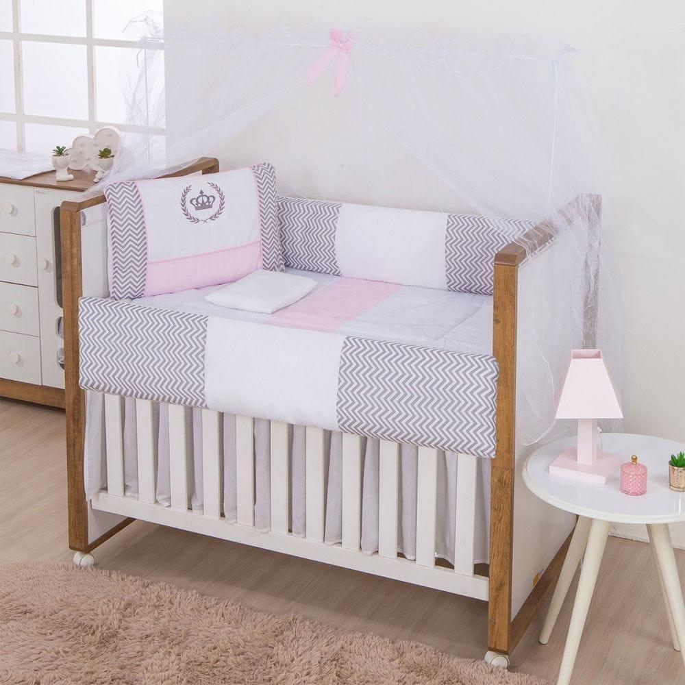 Kit Berço 9 Peças New Basic Yoyo Baby - Coroa Classic Rosa