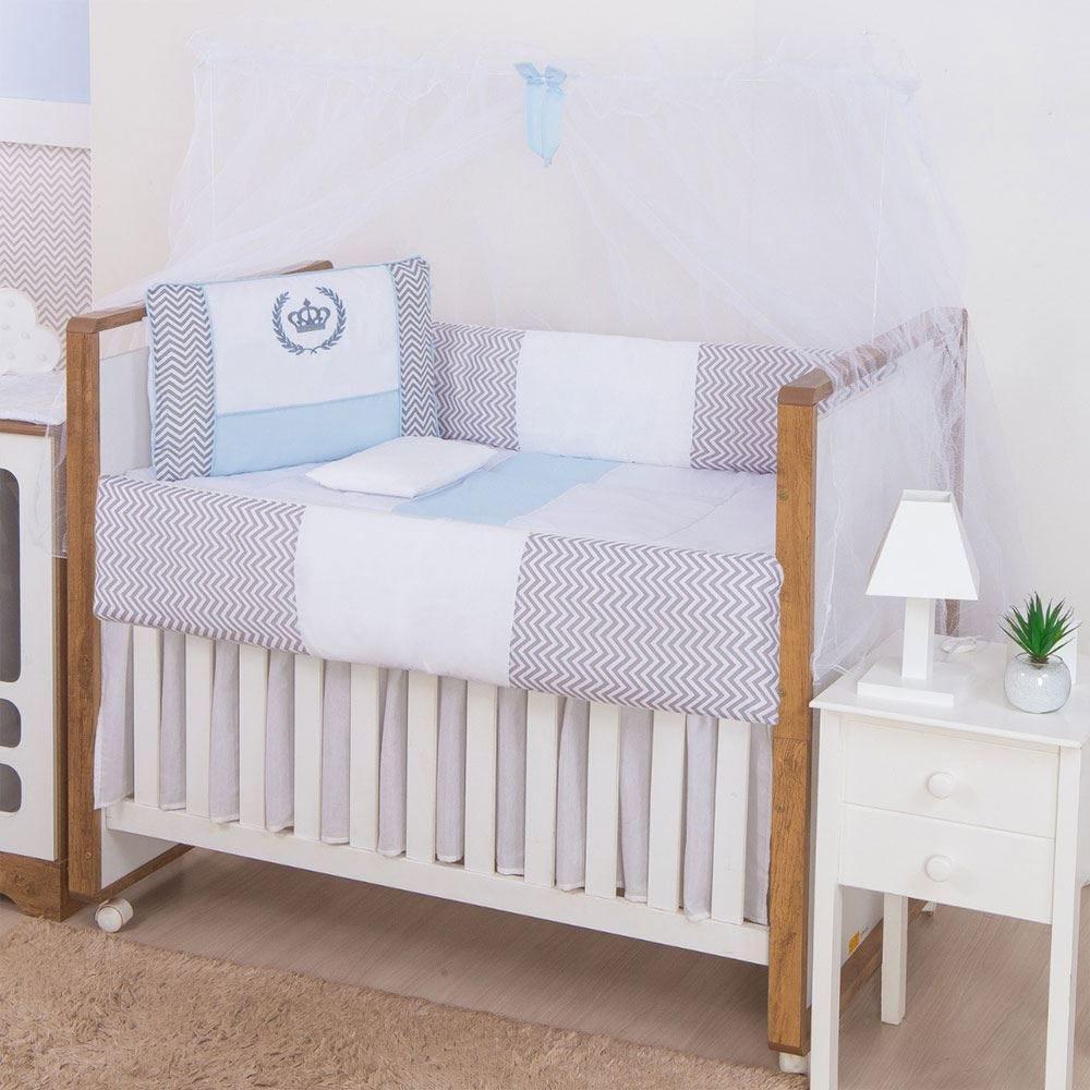 Kit Berço 9 Peças New Basic Yoyo Baby - Coroa Classic Azul