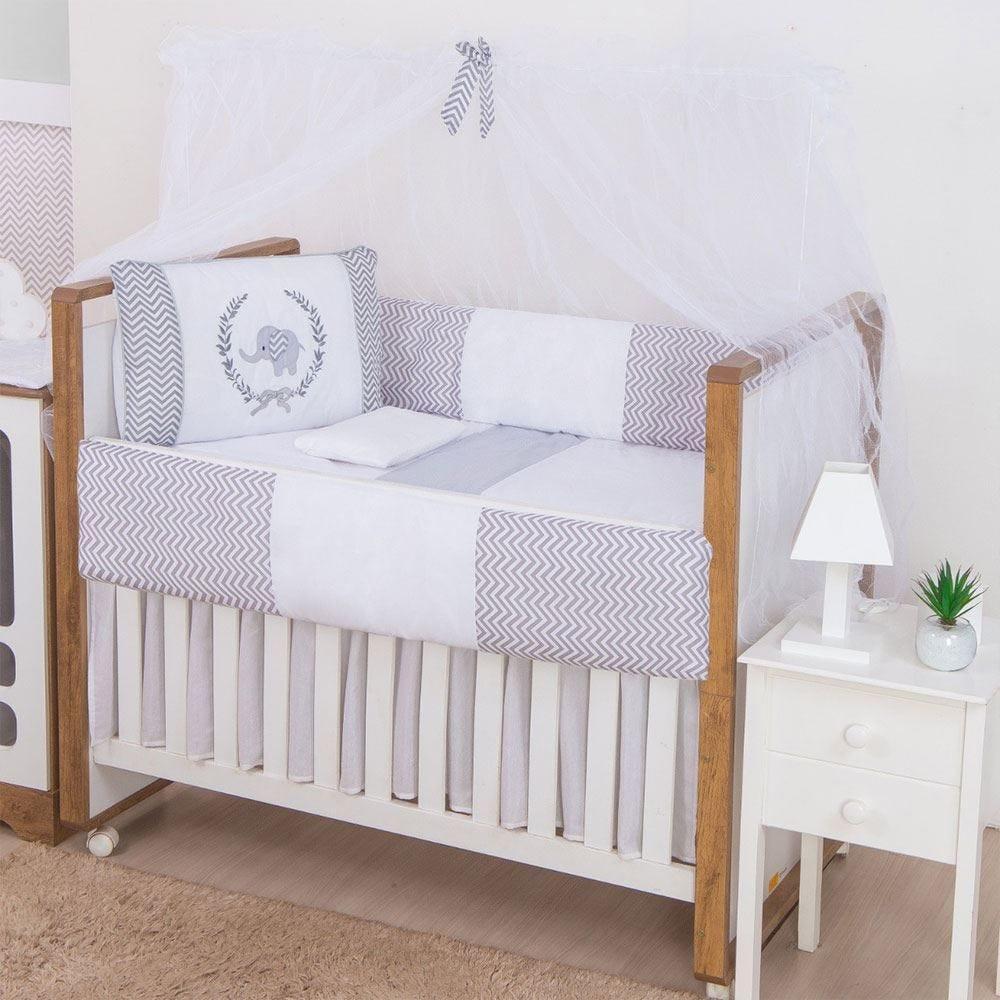 Kit Berço 9 Peças New Basic Yoyo Baby - Elefante Cinza