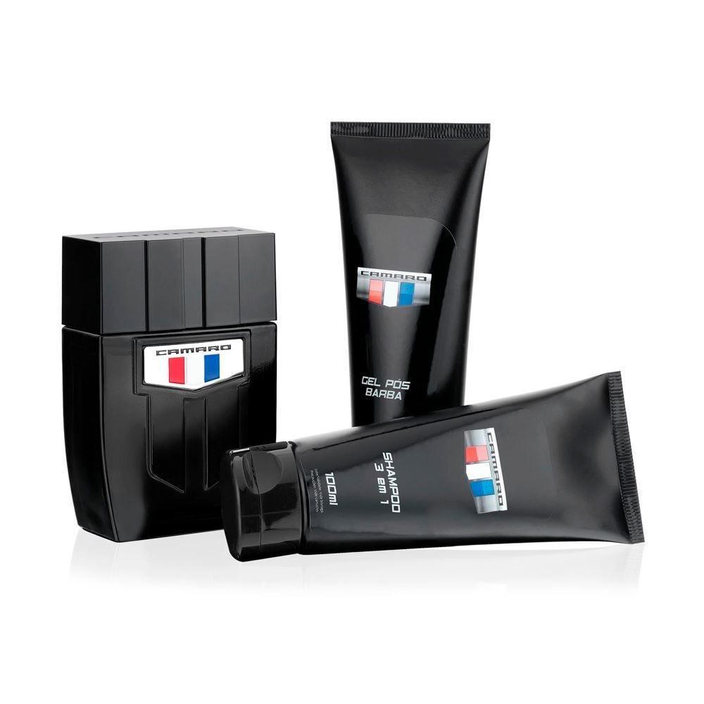 Kit Perfume Black 100Ml+Shampoo 100Ml+Gel Barba 100Ml Camaro - DIVERSOS