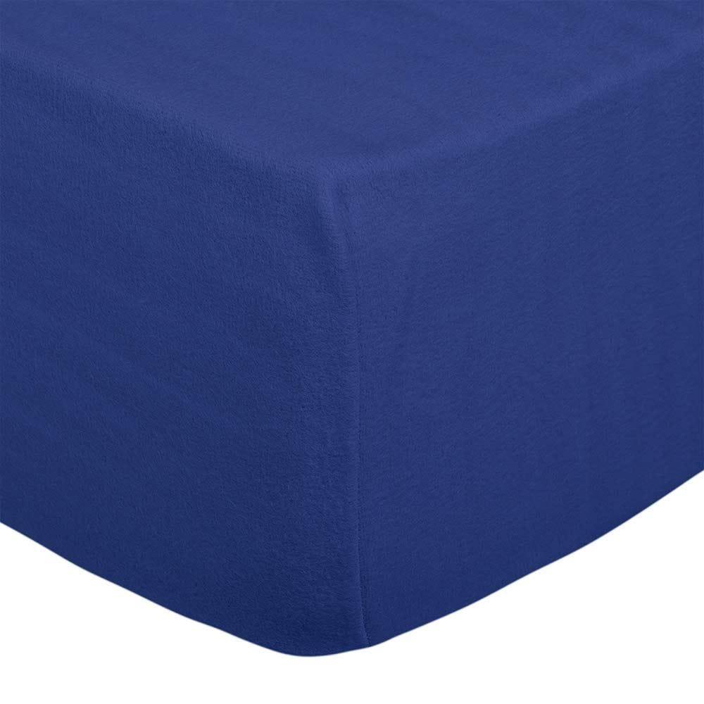 Lençol Avulso Solteiro Flanela Soft - Azul Medieval