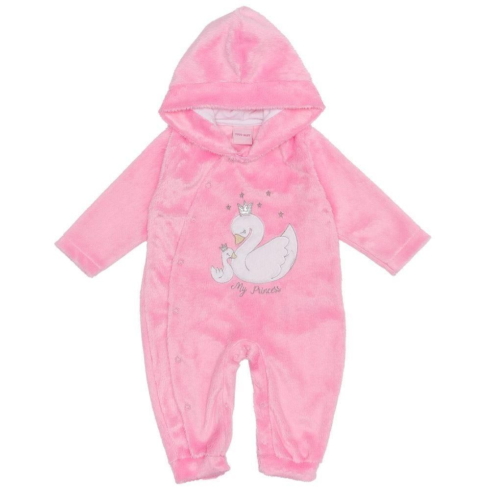 Macacão de Bebê de Pelinho Cisne com Capuz Yoyo Baby