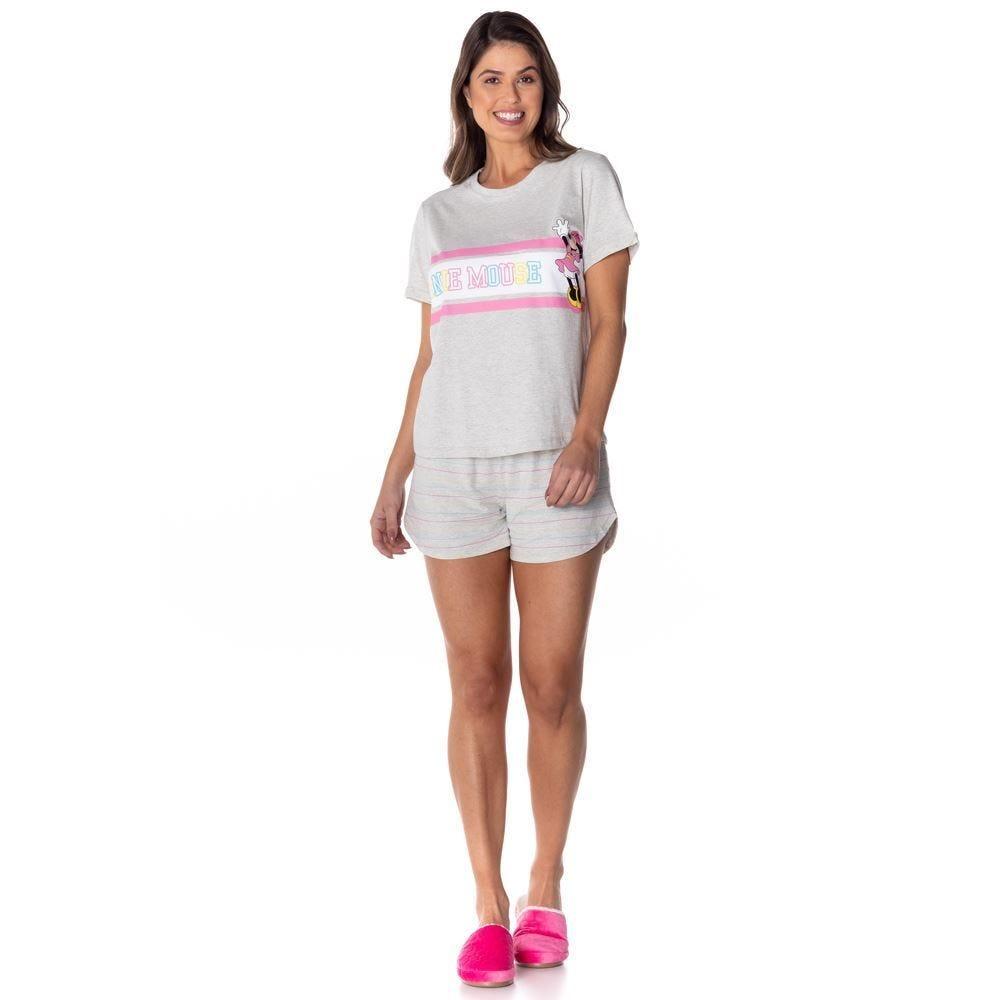 Pijama Curto Mesclado com Faixa Estampa Minnie Disney