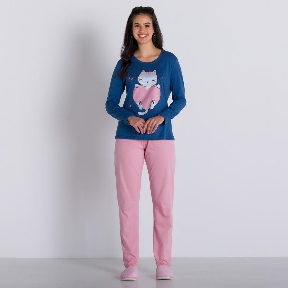 Pijama Longo Cat in Love Holla