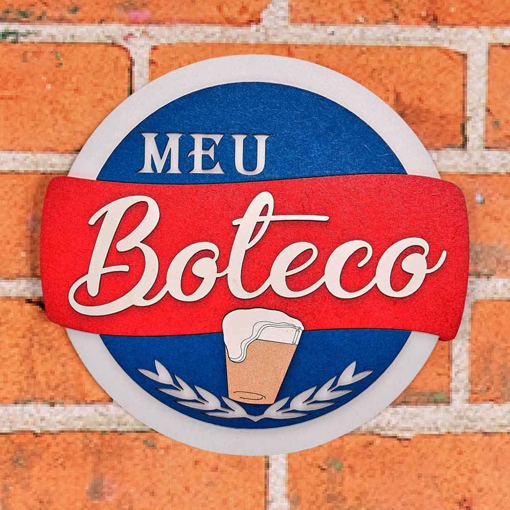 Placa Decorativa Meu Boteco Forgerini - Vermelho