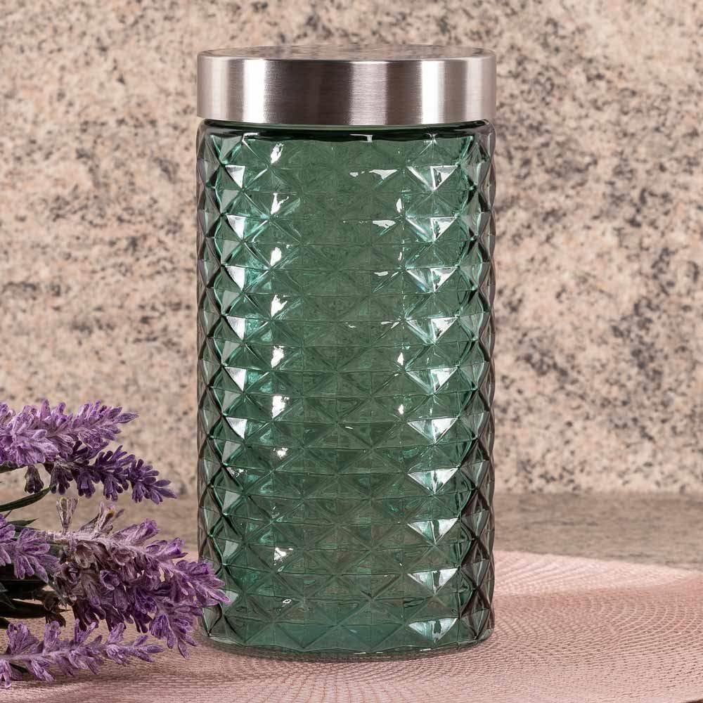 Pote De Vidro Com Tampa Inox 1,6 Litros Solecasa - Verde Claro