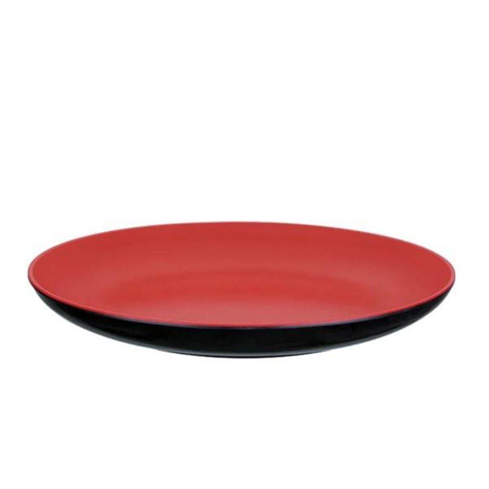 Prato Solecasa Oriental Melamina 20Cm - Vermelho e Preto