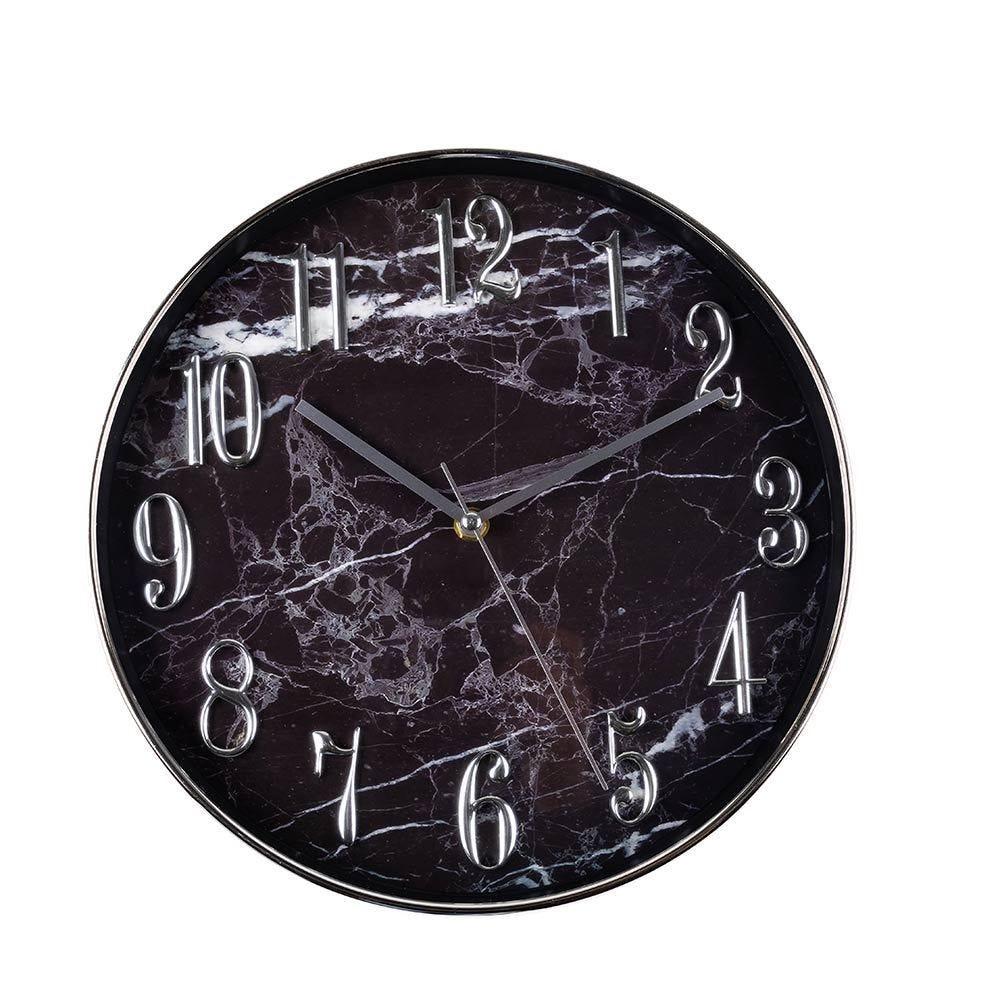 Relógio De Parede Toronto 30,5X4,5Cm Solecasa - Preto Marmorizado