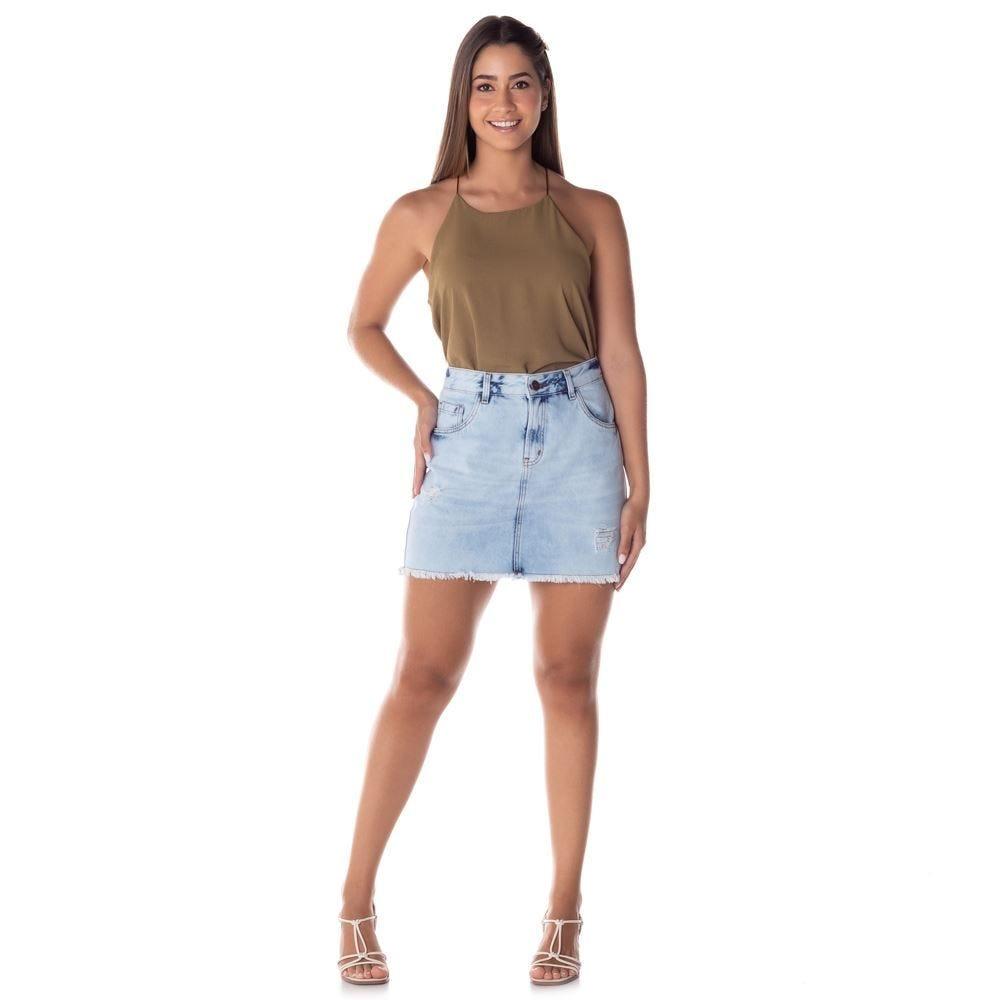 Saia Jeans com Puídos Barra Desfiada Patrícia Foster