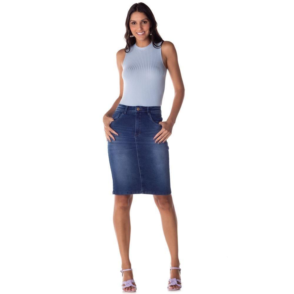 Saia Jeans Secretária com Used Patrícia Foster