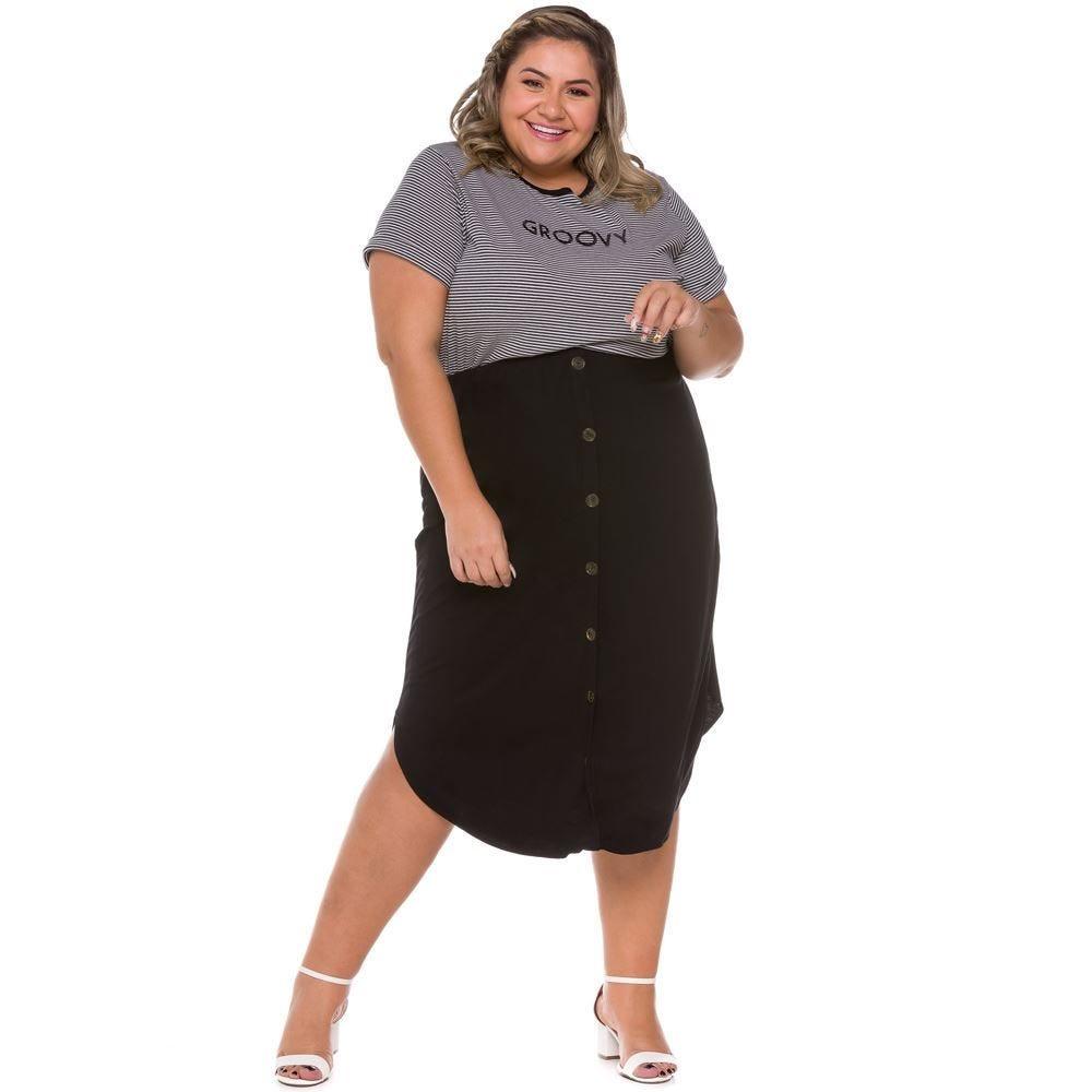 Saia Plus Size com Botões Frontais Patricia Foster Mais