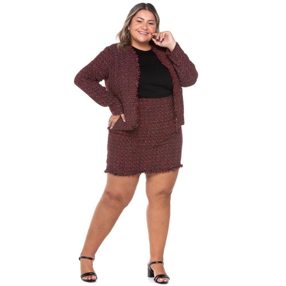 Saia Plus Size Curta de Tweed Analola