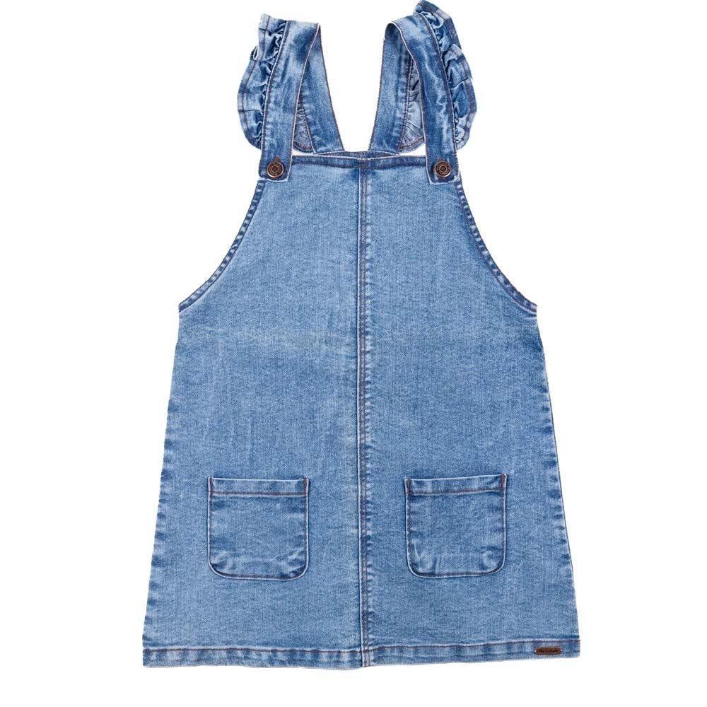 Salopete 4 a 10 anos Jeans Bolsos Frontais Marmelada