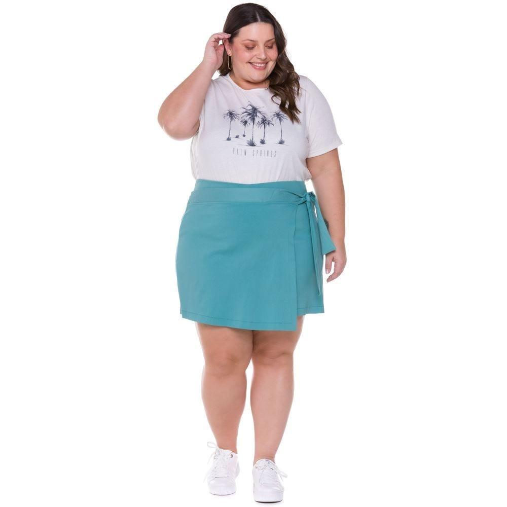 Short Saia Plus Size Transpassado Patrícia Foster Mais