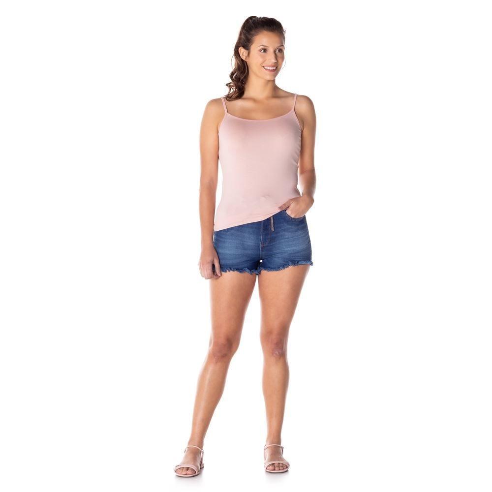 Shorts Jeans Hotpants com Barra Desfiada Contatho
