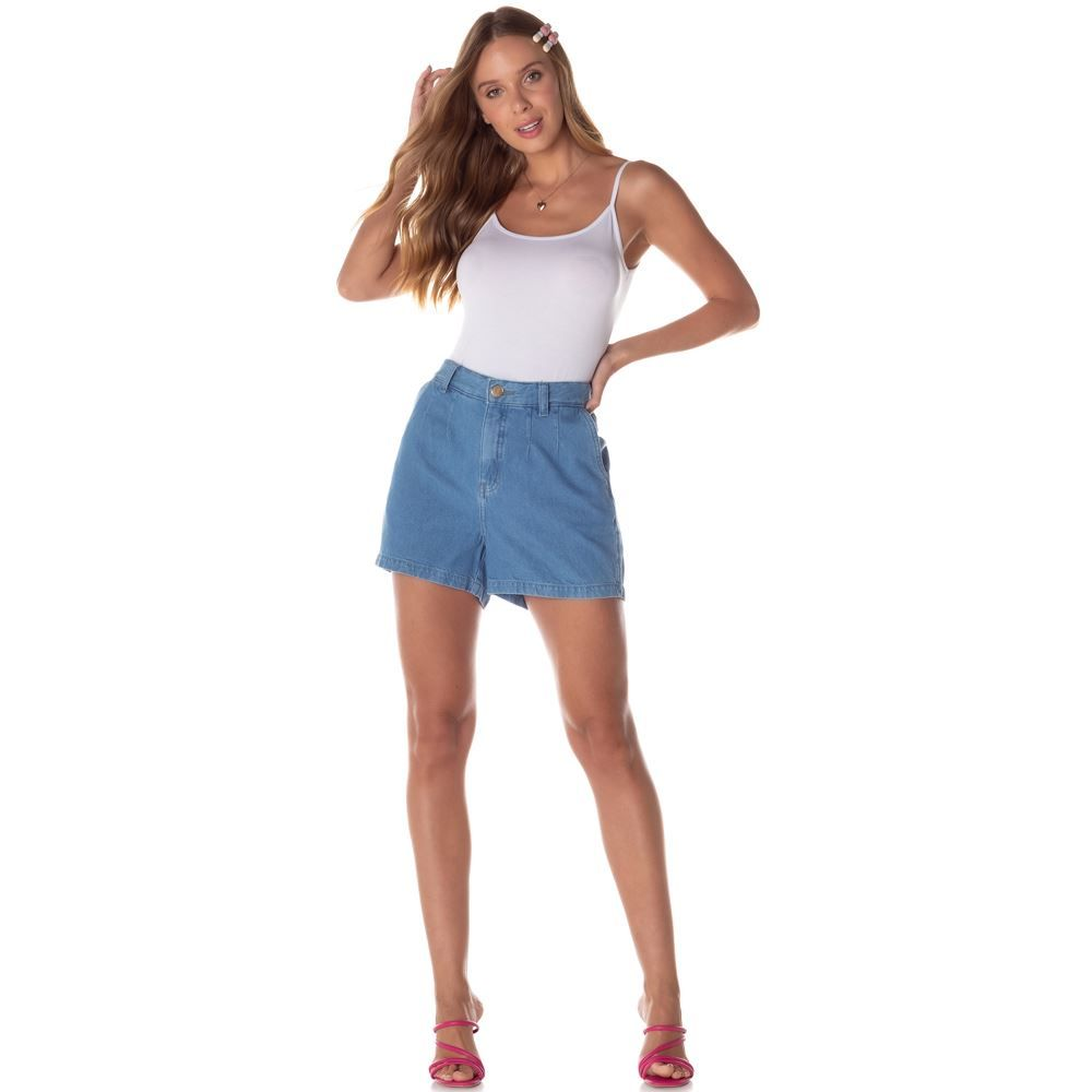 Shorts Jeans Mom com Prega + Bolso Faca Contatho