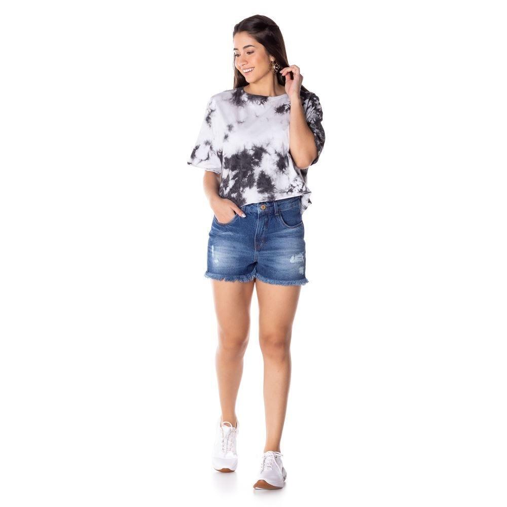 Shorts Jeans Mom de Barra Desfiada Contatho