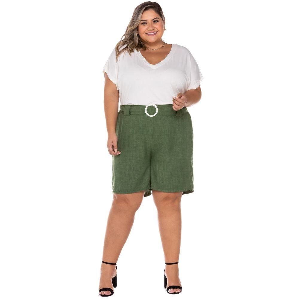 Shorts Plus Size com Cinto Fivela Patricia Foster Mais