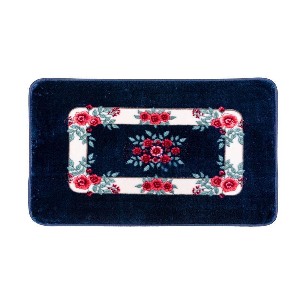 Tapete Sevilha De 60X90cm Antiderrapante Solecasa - Floral Azul