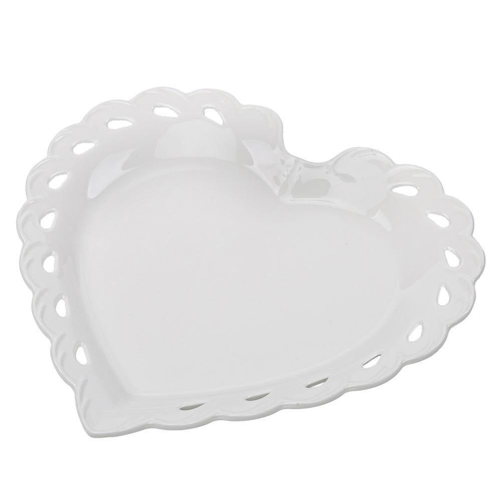 Travessa Porcelana Dynasty Coração 19,2Cm - Branco