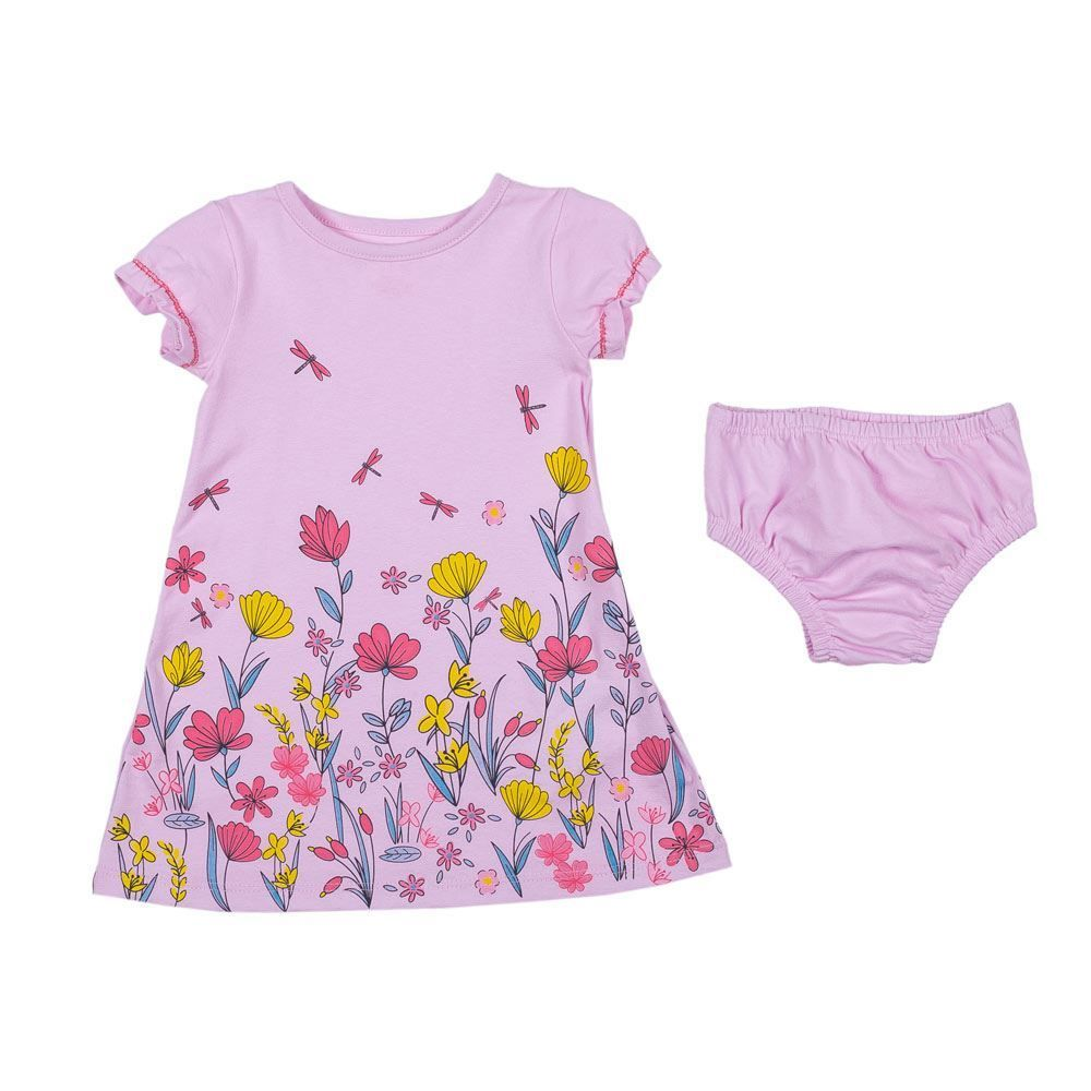 Vestido de Bebê Floral com Calcinha Yoyo Baby