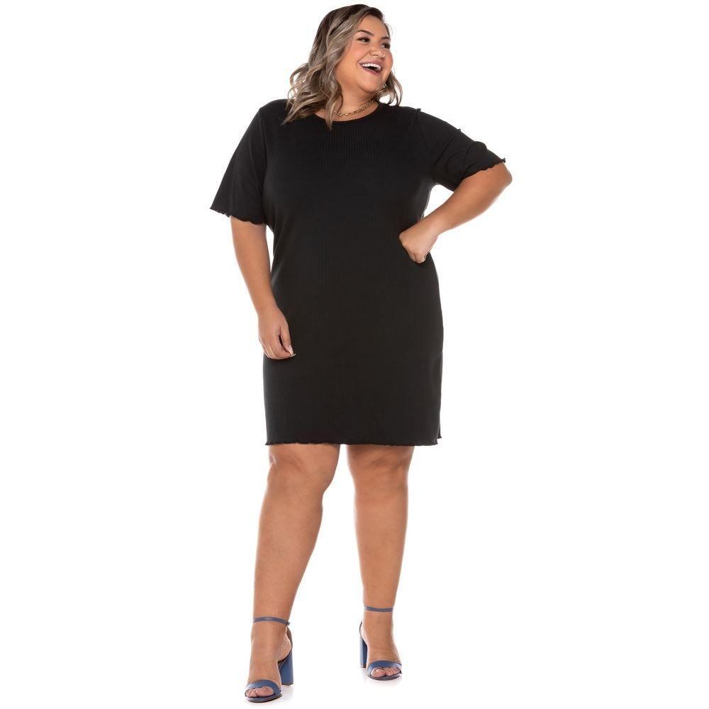 Vestido Plus Size Canelado Patricia Foster Mais