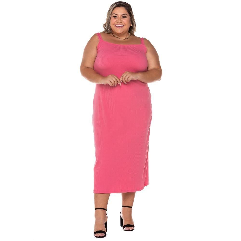 Vestido Plus Size Midi de Alças Patricia Foster Mais