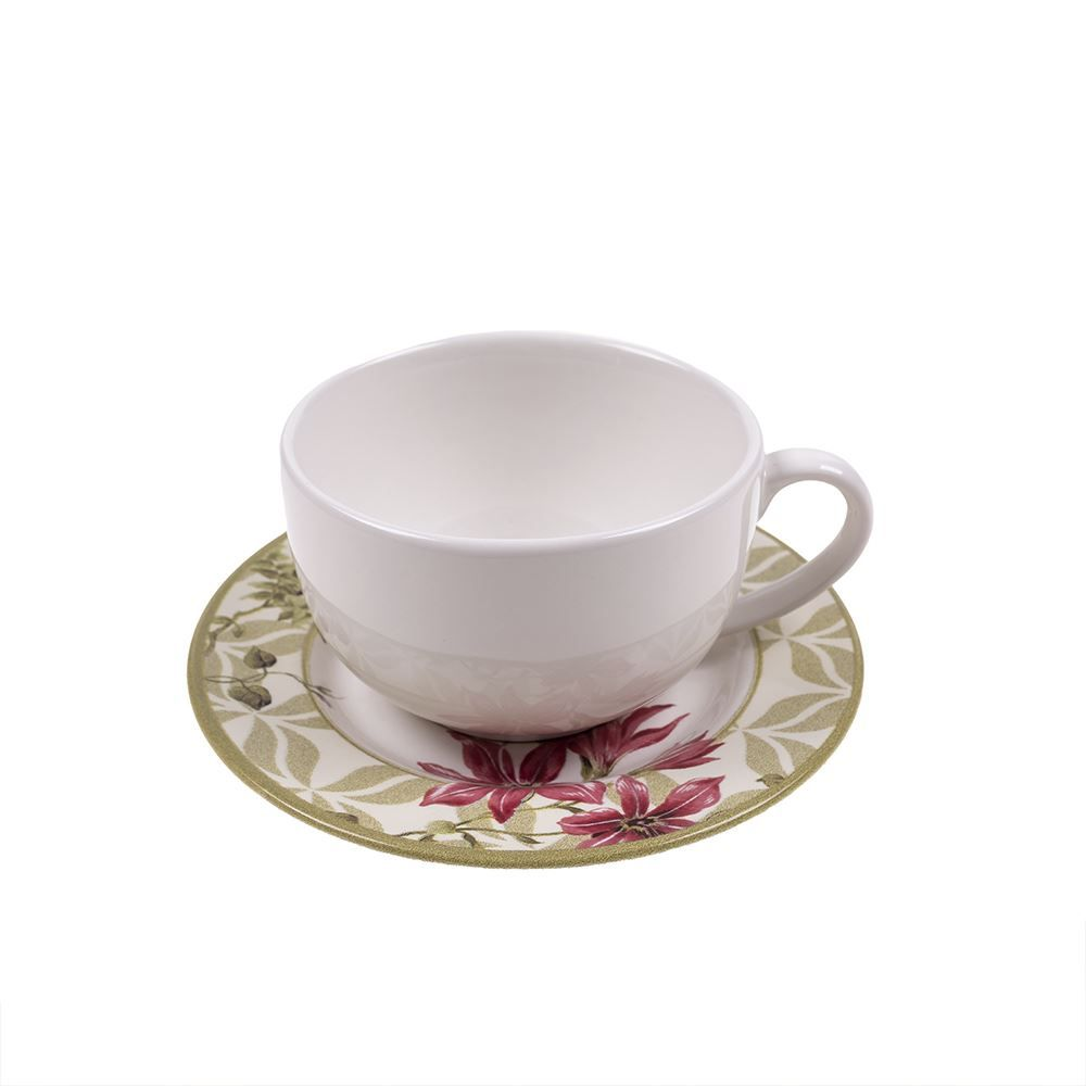 Xícara De Chá Com Pires Alleanza Aves 220Ml - Cerâmica