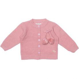 Casaco de Bebê Tricot com Laço + Pompons Fakini Rosa Envelhecido