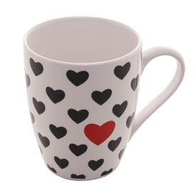 Caneca Porcelana 350Ml - Coração Vermelho
