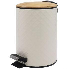 Lixeira Com Tampa De Bambu 3 Litros Finecasa - Taupe