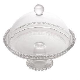 Prato Bolo C/ Pe/Tampa Pearl 20X18cm - Cristal