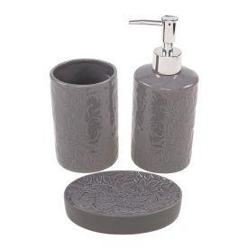 Conjunto Banheiro Cinza 3Pc - Cerâmica