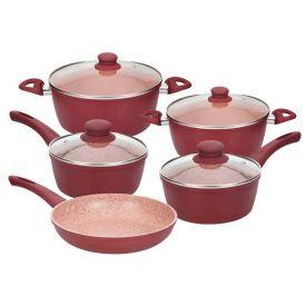 Jogo Panelas Ceramica Viena Inducao 5Pc - Vermelho