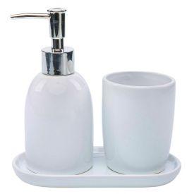Conjunto Banheiro Paris 3Pc - Branco e Prata