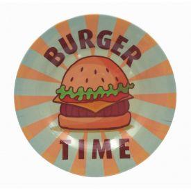 Prato Melamina Estampado 25Cm - Burger Time