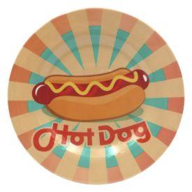 Prato Melamina Estampado 25Cm - Hot Dog